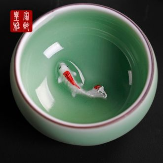 Royal elegant celadon ceramic cups individual fish kung fu master cup cup sample tea cup cup household contracted by hand