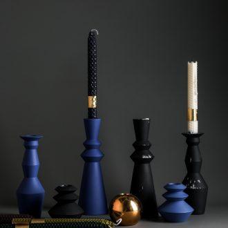 Nordic geometric candlestick suit romantic honeycomb smokeless candles example room designer decorative ceramic table furnishing articles