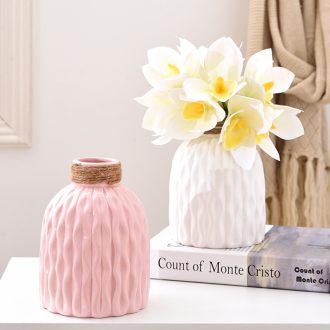Ceramic dry flower simulation single contracted Nordic white vase floral suit fresh creative furnishing articles sitting room adornment