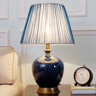 American simple ceramic desk lamp of bedroom the head of a bed kiln all copper blue new sitting room adornment lamps and lanterns that move light sweet