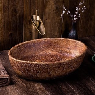 Ceramic sink industrial Chinese style restoring ancient ways of household sanitary toilet stage basin oval art basin that wash a face wash basin