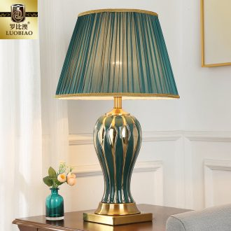 European bedside table lamp creative American romantic and warm bedroom light remote control home sitting room key-2 luxury ceramic lamps and lanterns