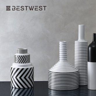 BEST WEST geometric stripe ceramic vase furnishing articles of the new Chinese style living room wine soft light key-2 luxury decoration decoration