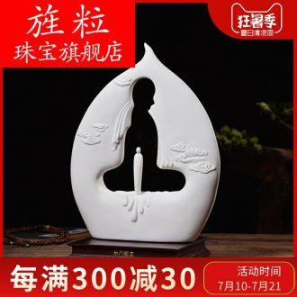 Bm Chinese style living room ceramic zen furnishing articles dehua porcelain sculpture art knot of zen