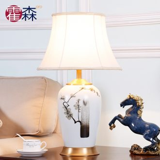 New Chinese style full copper ceramic desk lamp sitting room bedroom berth lamp Chinese wind restoring ancient ways zen hand - made decorative warmth