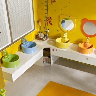 Kindergarten trumpet on the ceramic color lavatory basin ceramic lavabo children round the stage basin of 35 cm