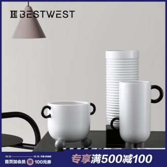 BEST WEST geometric creative ceramic vase soft adornment ornament light key-2 luxury furnishing articles sample room sitting room porcelain