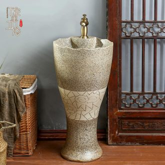 Ceramic basin of pillar type lavatory hand - carved archaize pillar lavabo toilet ground for wash gargle single basin