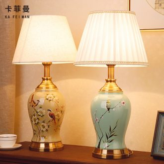 New Chinese style ceramic desk lamp classical home sitting room bedroom study bedroom adornment wedding carried this bedside lamp