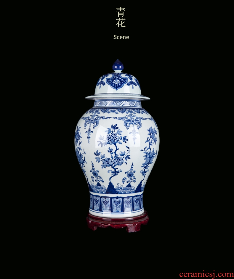 New Chinese style ceramic vase furnishing articles water living room TV cabinet creative light key-2 luxury three - piece flower arranging flowers between example - 18827589458