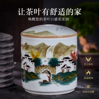 Jingdezhen hand-painted ceramic seal pot large storage tank tea caddy household receives tea tea urn box