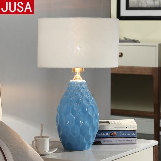 Nordic ceramic desk lamp the sitting room is contracted and contemporary bedroom berth lamp study warm bedside table lamp of remote control