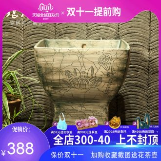 Indoor and is suing ceramic art basin mop mop pool ChiFangYuan one - piece mop lotus pool 42 cm diameter