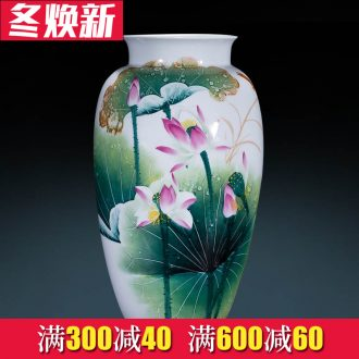 Jingdezhen famous master hand made lotus ceramics vase furnishing articles of new Chinese style decorates porch sitting room big furnishing articles