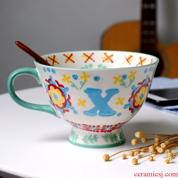 European cup oats ceramic art restoring ancient ways breakfast cup high - capacity small pure and fresh and lovely home sweet large cups