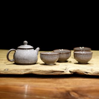 Ceramic teapot by hand suits for the elder brother of the home office longquan celadon up tea ice crack, small sets of kung fu tea set