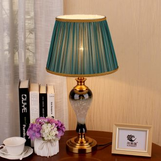 American desk lamp jingdezhen ceramic bedside lamp sitting room adornment bedroom modern Chinese hand - made hotel apartment