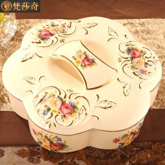 Vatican Sally 's European compote key-2 luxury home sitting room large ceramic dry fruit tray frame with cover candy box snack plate