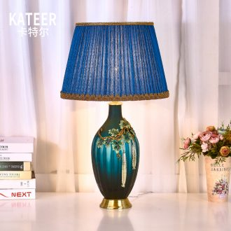 American colored enamel key-2 luxury villa living room big lamp pure copper contracted creative decorative porcelain lamp of bedroom the head of a bed