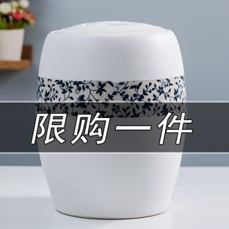 Jingdezhen ceramic barrel with cover household small insect store meter box 10 jins m cans sealed container 20 jins ricer box