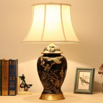 The Desk lamp of bedroom the head of a bed lamp new Chinese American sitting room of Europe type restoring ancient ways of rural black flowers and birds all copper ceramic Desk lamp