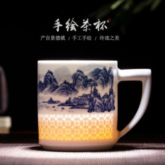 Jingdezhen ceramic cup hand - made porcelain and exquisite glaze color tea cup work under the boss business gift cup China cups