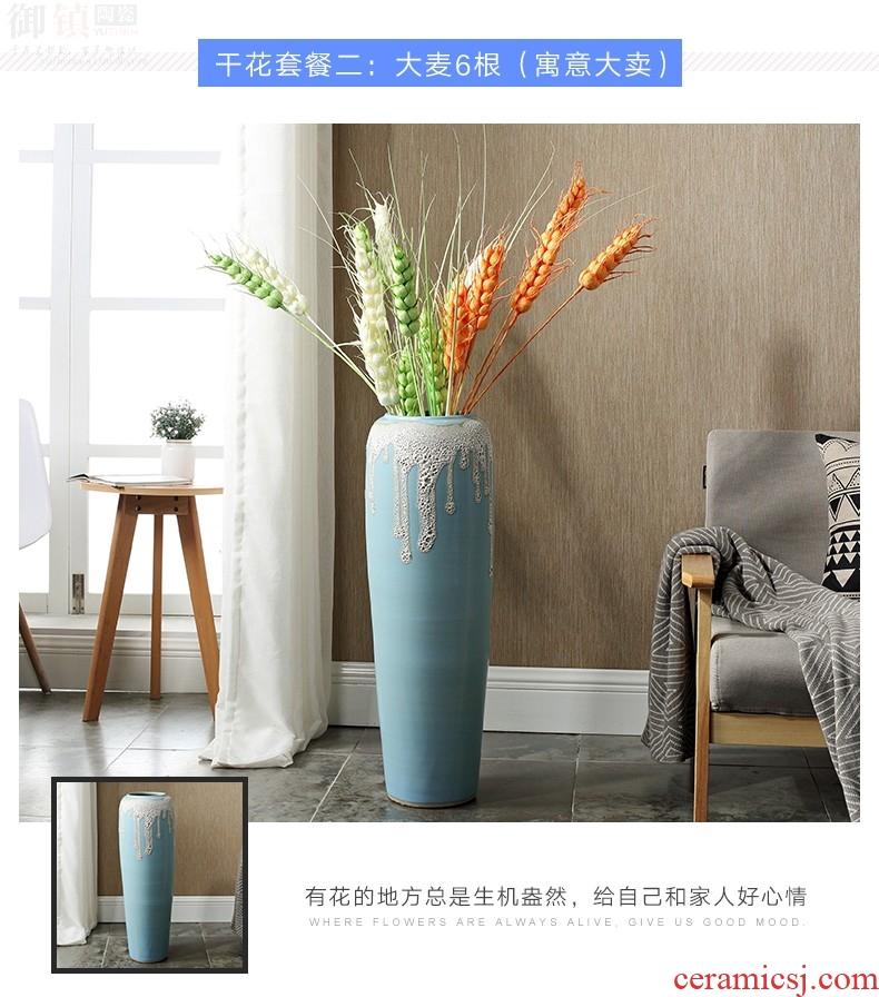 Jingdezhen ceramics vase Chinese penjing flower arranging large three - piece wine cabinet decoration plate household decoration - 598117661249