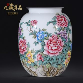 Jingdezhen ceramics hand-painted pastel peony vases, new Chinese style living room TV ark flower arranging porch is decorated furnishing articles