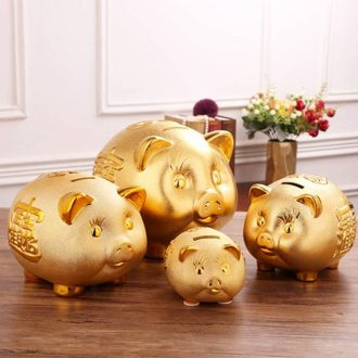 Ceramic golden piggy Banks couldn 't only do not take a cookie jar into the piggy bank can be a large capacity of adult children