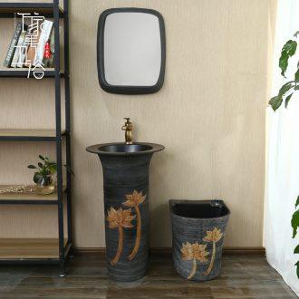 M the pillar type lavatory basin of European pillar ceramic sink basin to a whole floor lavabo column