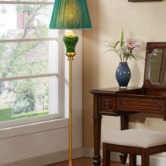 Jingdezhen ceramic green light floor lamp of Chinese style key-2 luxury atmosphere sitting room warm American desk lamp of bedroom the head of a bed lamp