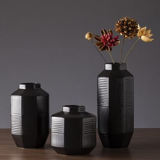 The new 2019 jingdezhen ceramic vases, I and contracted zen retro black dry flower vases, sitting room furnishing articles