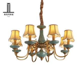 All copper pendant sitting room bedroom lamp study contracted dining - room lamp pure copper ceramic villa key-2 luxury European - style lamps and lanterns