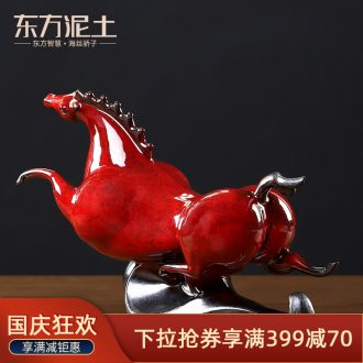 The east mud horse furnishing articles ceramics handicraft office desktop wine don horse decoration/treader tianma