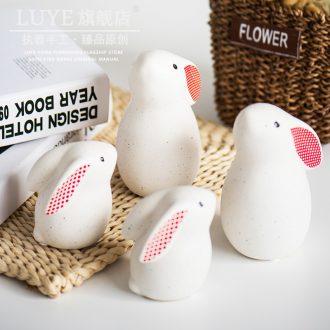 Zakka of a small rabbit animal ceramic furnishing articles express cartoon creative household adornment ornament gift