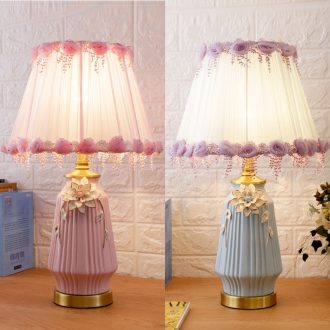Nordic ins girls pink ceramic desk lamp European - style bedroom berth lamp creative fashion warm home wedding room