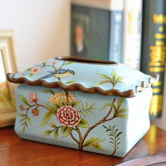 Murphy, American country retro tissue boxes sitting room adornment is placed European ceramic creative napkin paper carton