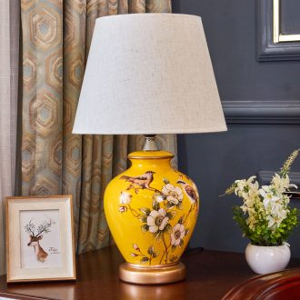 Ceramic lamp American pastoral European new Chinese style restoring ancient ways is the sitting room, bedroom sweet home dimming bedside table lamp