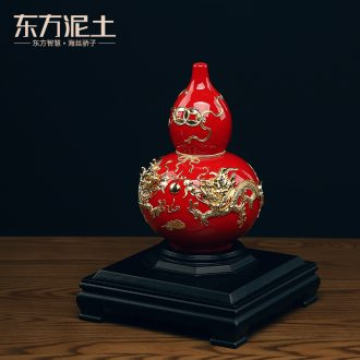 Oriental clay ceramic bottle gourd furnishing articles paint line carve handicraft creative opening version into gifts/blessing