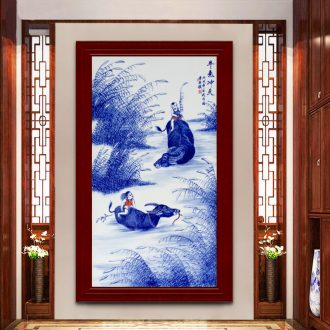 Jingdezhen ceramic hand-painted cattle figure setting wall of blue and white porcelain sitting room adornment picture of modern Chinese style porch hang mural