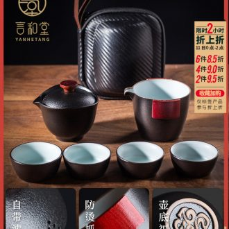 Michael crack and hall kung fu tea cup travel portable bag contracted tureen suit Japanese ceramic cups