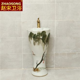 Ceramic column basin one-piece outdoor household balcony sink floor toilet lavatory toilet home stay facility