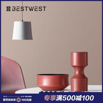 BEST WEST creative furnishing articles display porcelain ceramic vase sample room light soft decoration decoration key-2 luxury living room