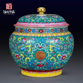 Archaize of jingdezhen ceramics colored enamel orb household decorative bottle study tea cover tank storage cover pot furnishing articles