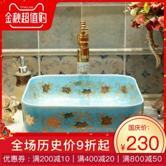 Gold cellnique rural wind lavabo lavatory sink color glaze ceramic square emerald blue birds and flowers