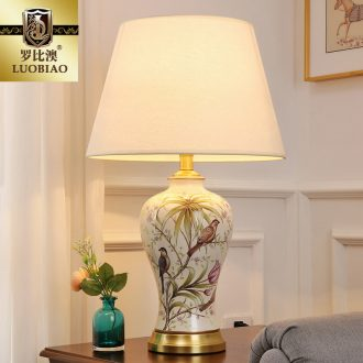 The Desk lamp of bedroom the head of a bed lamp, I and contracted creative new Chinese style living room warm and romantic home adjustable light ceramic lamp