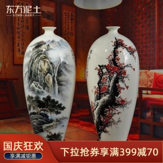 Oriental clay ceramic hand-painted vases furnishing articles new Chinese style household living room TV cabinet/MeiKaiWuFu ornament