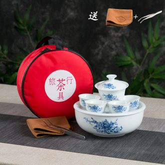 Mini travel kung fu tea set ceramic portable bag contracted outdoors travel car tea tray small suit to receive bag