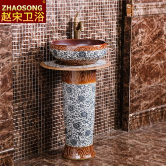 Restoring ancient ways of jingdezhen blue and white porcelain pillar tuba basin toilet lavabo floor balcony outside of the basin that wash a face