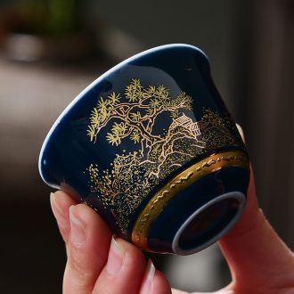 Tao blessing ji blue glaze ceramic tea set with blue and white porcelain cups kung fu tea masters cup tea cups